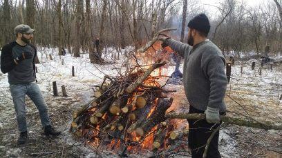 Daniel and Scott burn brush Cassi Saari, February 2015